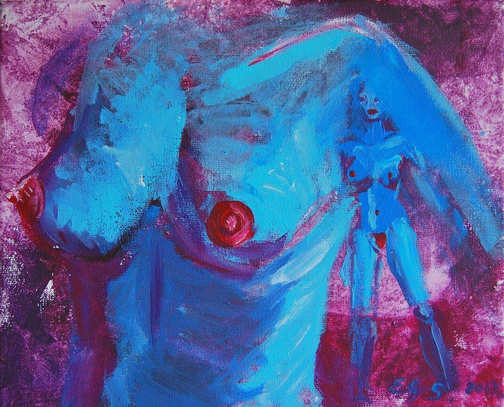 La Fille en Bleu z cyklu Umizgi 20x25 akryl płótno 2013