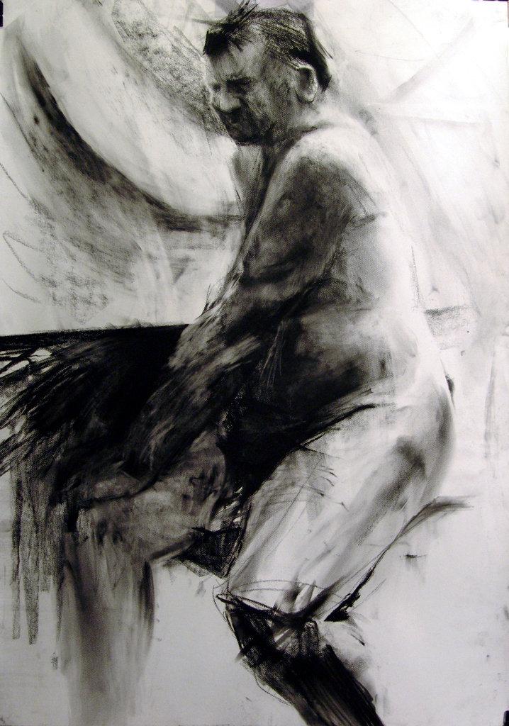 Stary siedzący, rys. węglem, 70x100 2009-10