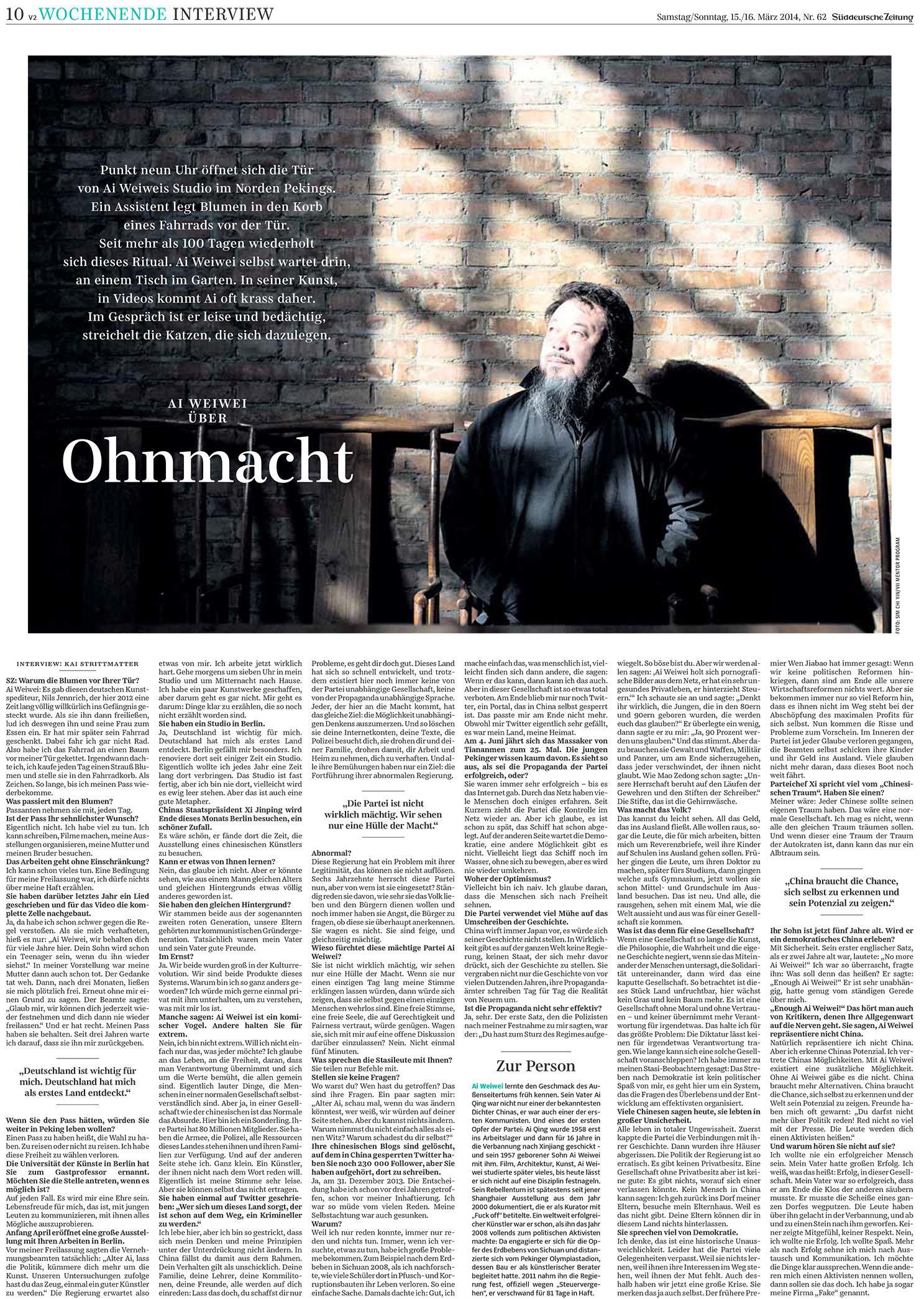 Süddeutsche Zeitung, March 2014, Portrait of Ai Weiwei