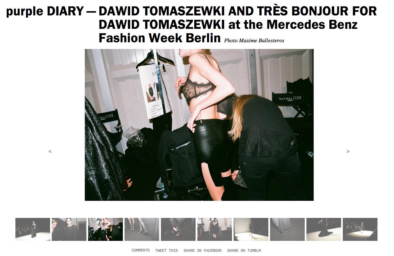 purple DIARY   DAWID TOMASZEWKI AND TRÈS BONJOUR FOR DAWID TOMASZEWKI at the Mercedes Benz Fashion