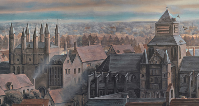 Panoramic painting of Medieval Bruges, detail