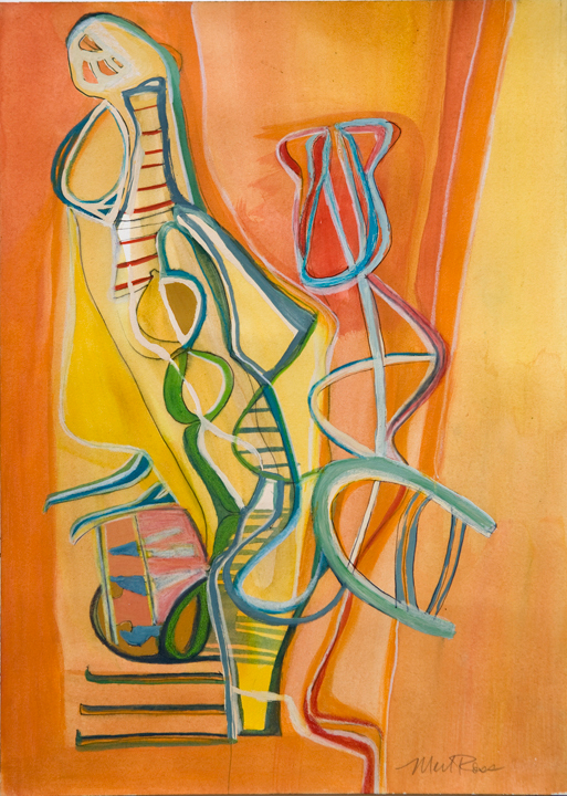 "Double Helix, 2009, Mixed Media on Paper, 14""x10"""