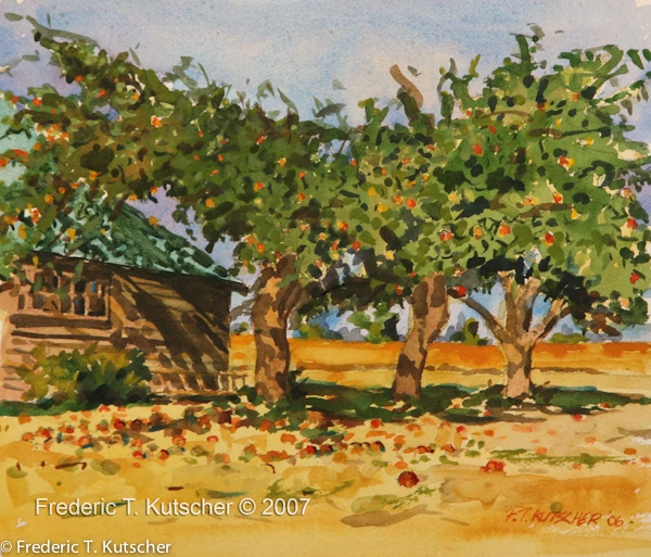 2007-1 Tractor Shed and Apples 11.5W x 10H (Watercolor on paper).jpg
