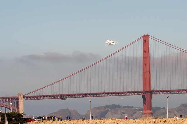 Endeavor over Golden Gate Bridge