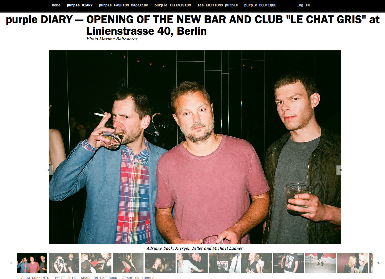purple DIARY   OPENING OF THE NEW BAR AND CLUB  LE CHAT GRIS  at Linienstrasse 40  Berlin.png