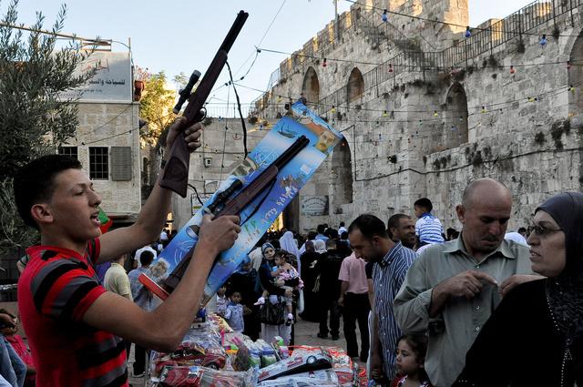 Vieille ville de Jérusalem, après la dernière prière du ramadan,