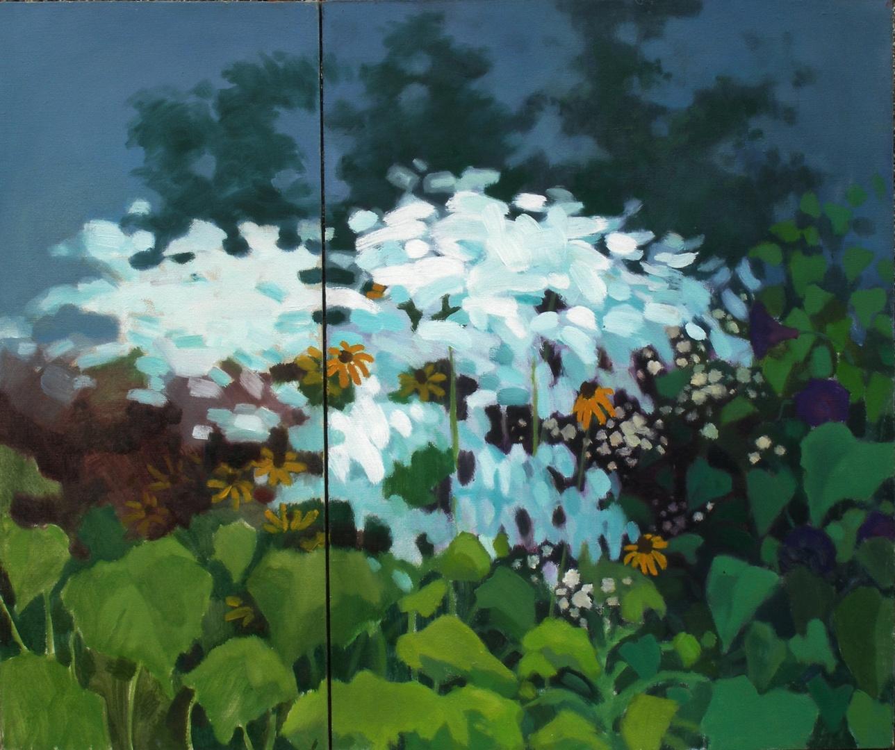 Wiosną za oknem (dyptyk) 80x60 i 80x35