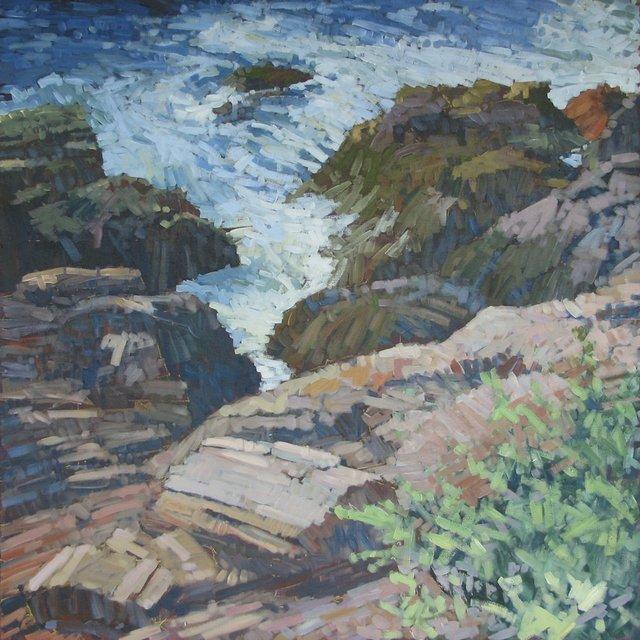 "Juniper Above Prouts Shore, 2013, Acrylic on Canvas, 48"" x 48"""