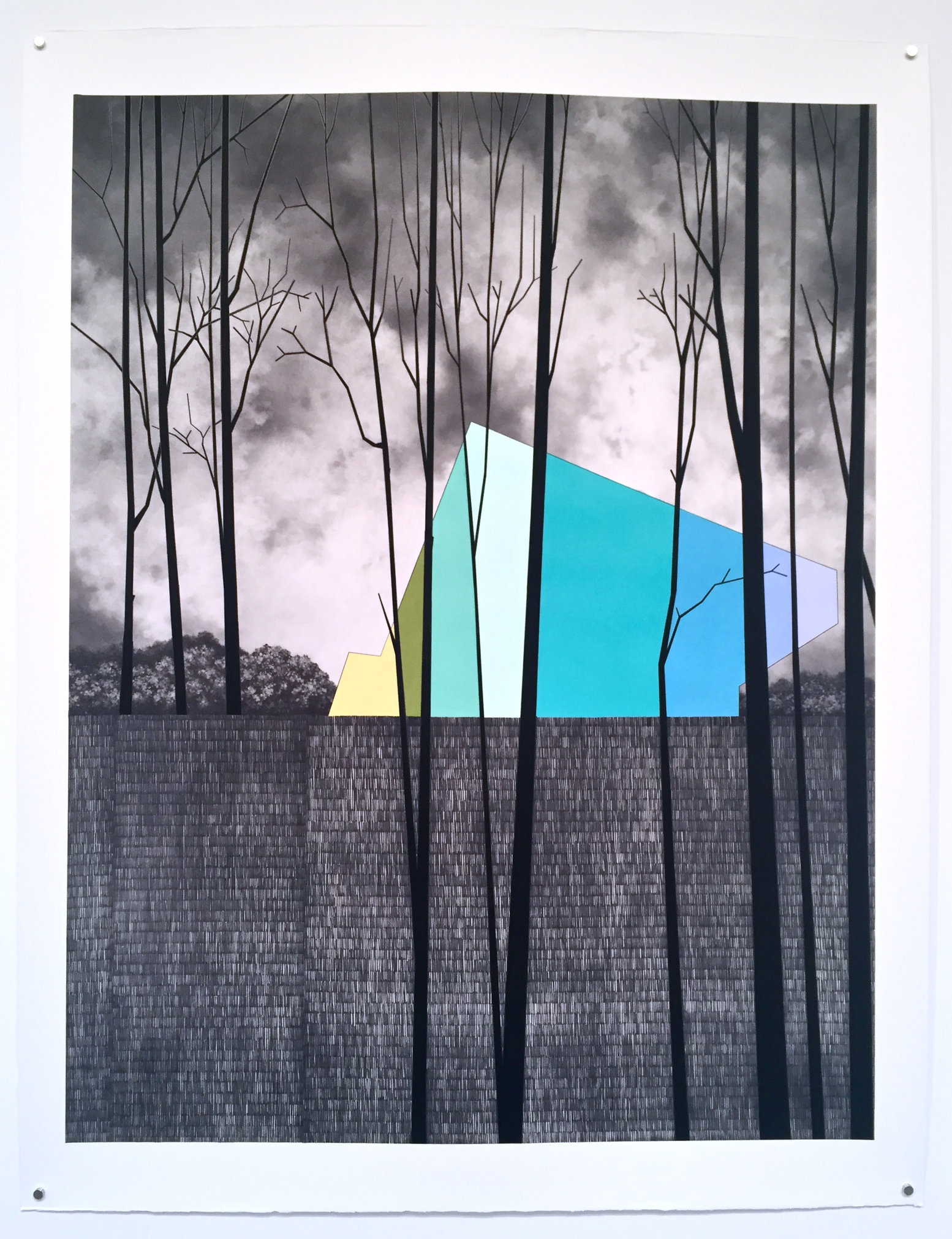 Rearview, 2015, gouache and graphite on paper, 57 x 46""