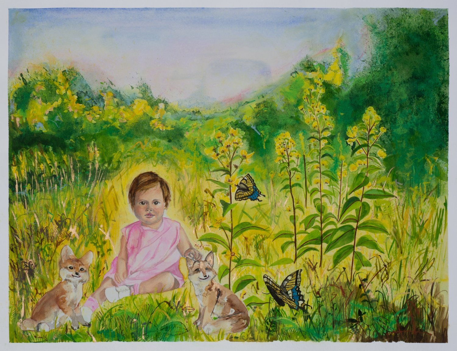 Little Ann in the Garden with Happy Foxes