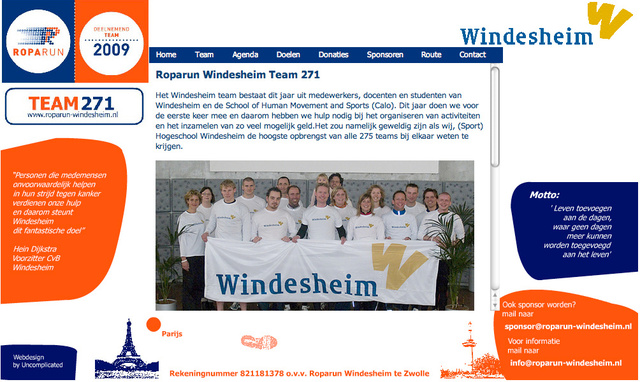 Webdesign for Roparunteam Windesheim