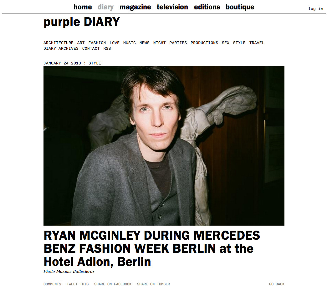 purple DIARY   RYAN MCGINLEY DURING MERCEDES BENZ FASHION WEEK BERLIN at the Hotel Adlon  Berlin.jpg