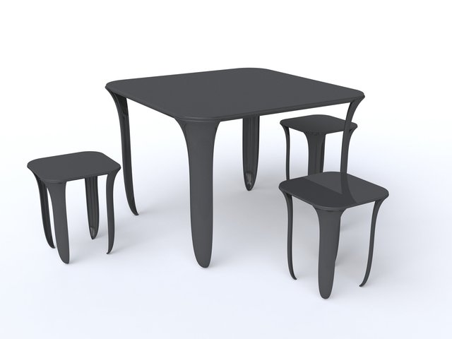 on tiptoes -, table and stools, 2013