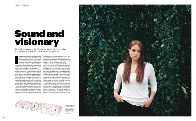 Rachel Rose, FT Weekend Magazine, 26/27th September 2015