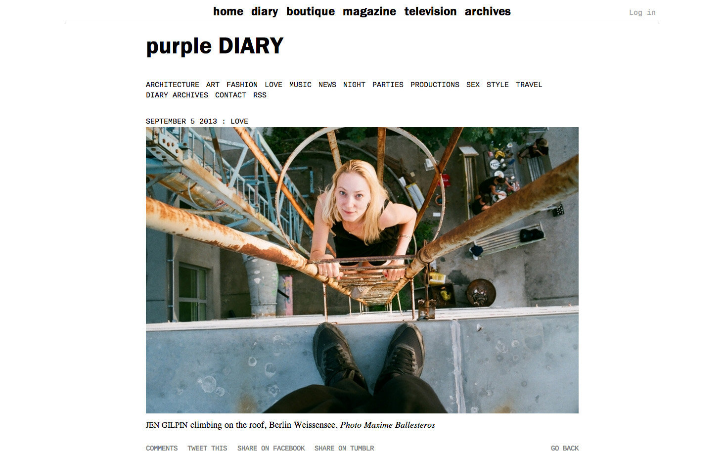 purple DIARY   Jen Gilpin climbing on the roof  Berlin Weissensee. Photo Maxime.jpg