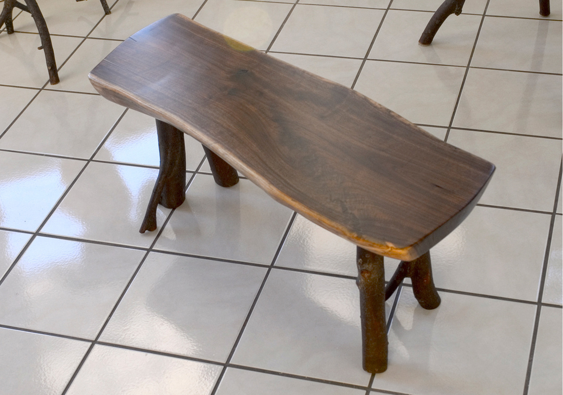 walnut bench with hickory legs