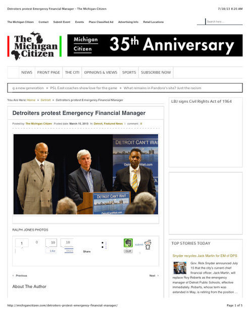 "Preview of ""Detroiters protest Emergency Financial Manager – The Michigan Citizen"".jpg"
