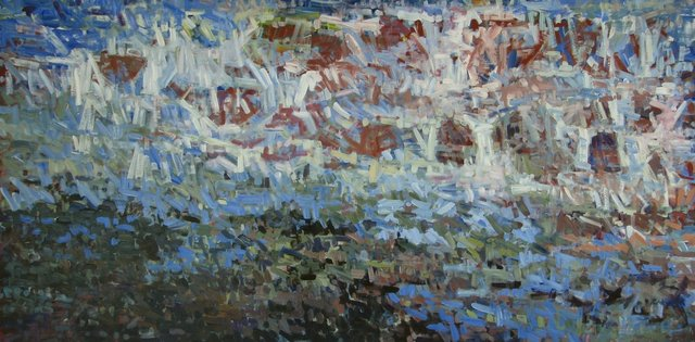 Diminishing Stream, 2014, Acrylic on Canvas, 48 x 96 in.