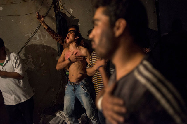 Mahdi Mohseni, 17, with his injured breast, on the Day of Ashura