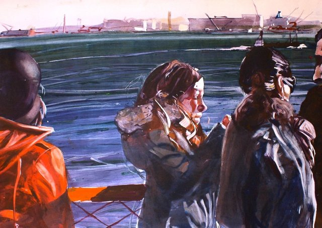 On the Ferry  22 x 29""