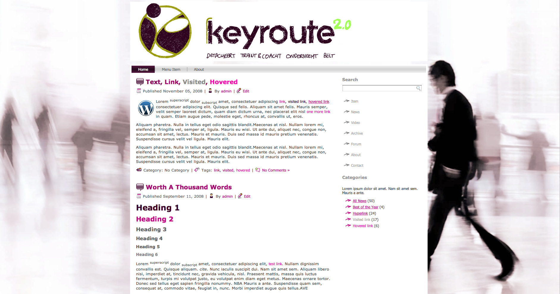 Template design for Keyroute in Wordpress
