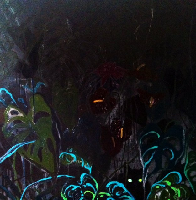 Czarna dżungla 90x90 olej płótno 2016