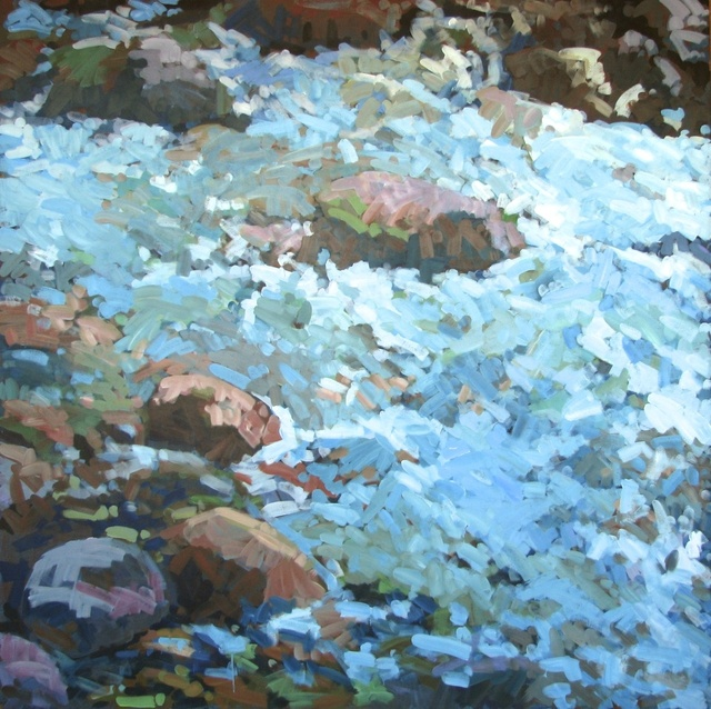 "Downstream Avalanche Creek, 2012, Acrylic on Canvas, 72"" x 72"""