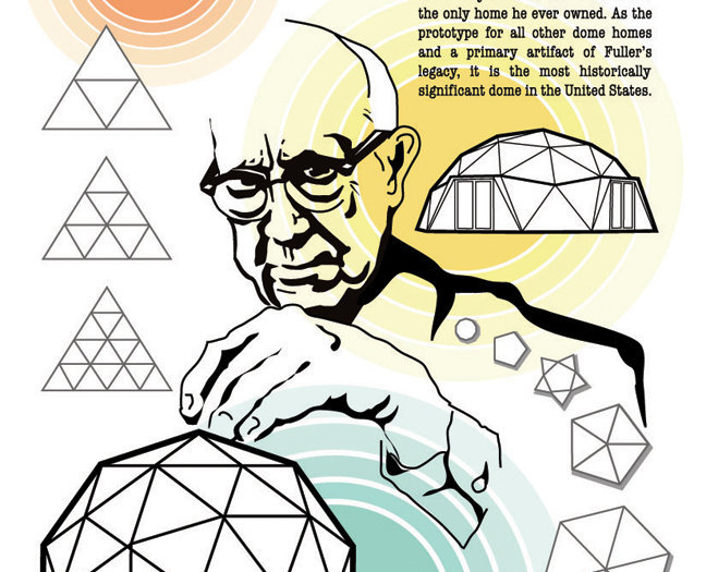 Illustration of Buckminster Fuller