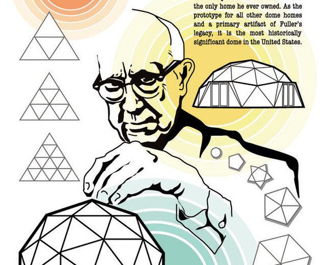 Illustration of Buckminster Fuller