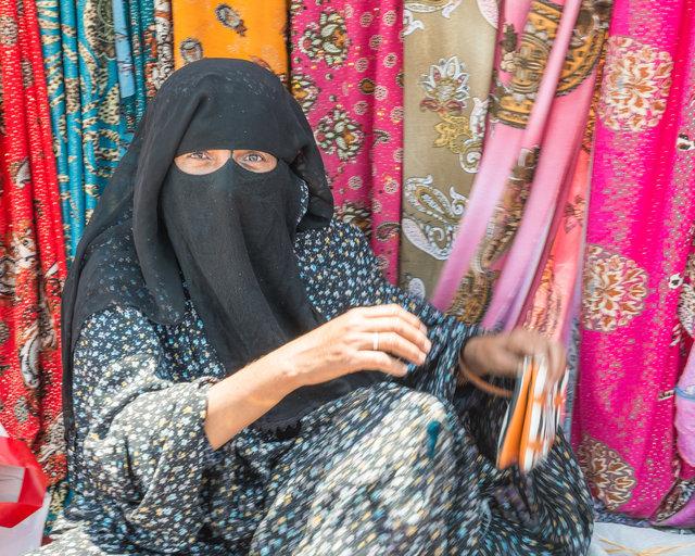 Bandari woman, Market in Minab, S Iran.