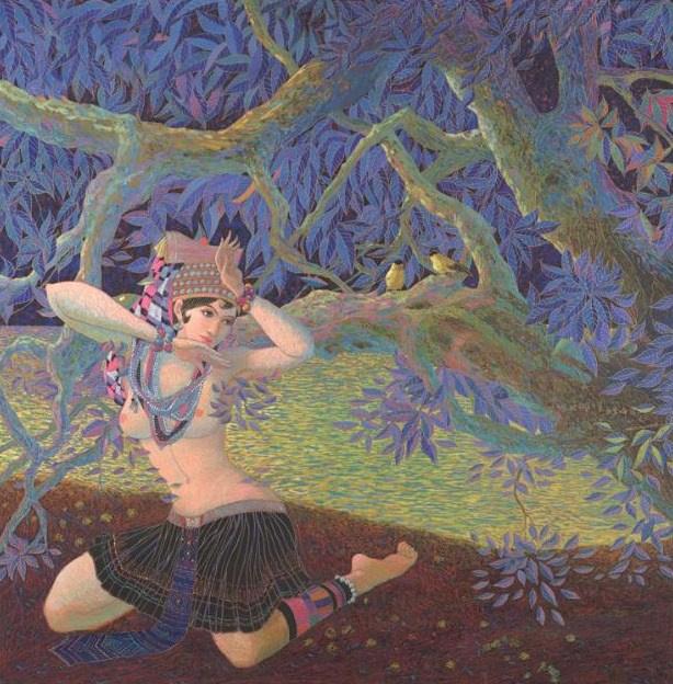 "Goddess Guarding the Tea Tree, 42"" x 42"""