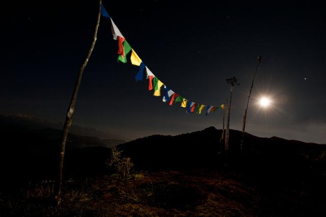 Full Moon over Prayer Flags
