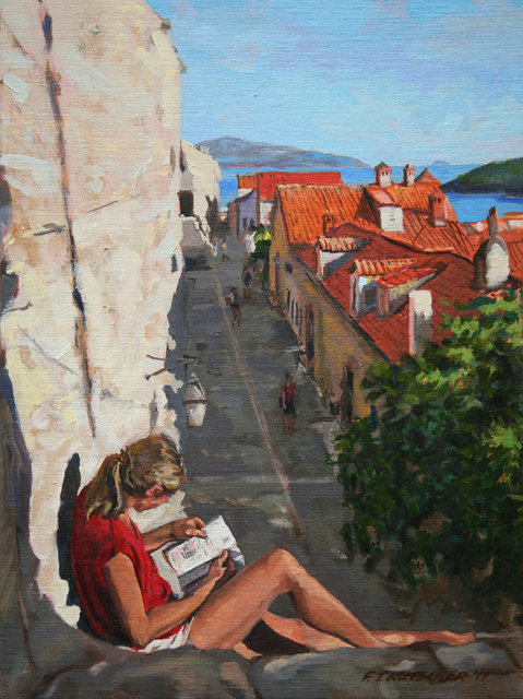 Woman in Red Shirt Reading, North Wall, Old Dubrovnik