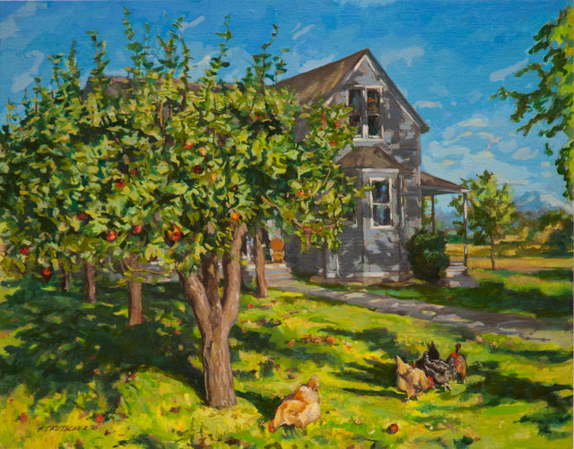 House and Orchard, September Late Afternoon