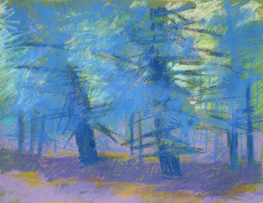 Sawtooth Lodge #1, Pastel on Paper, 12 x14 in. plus frame (NLA)
