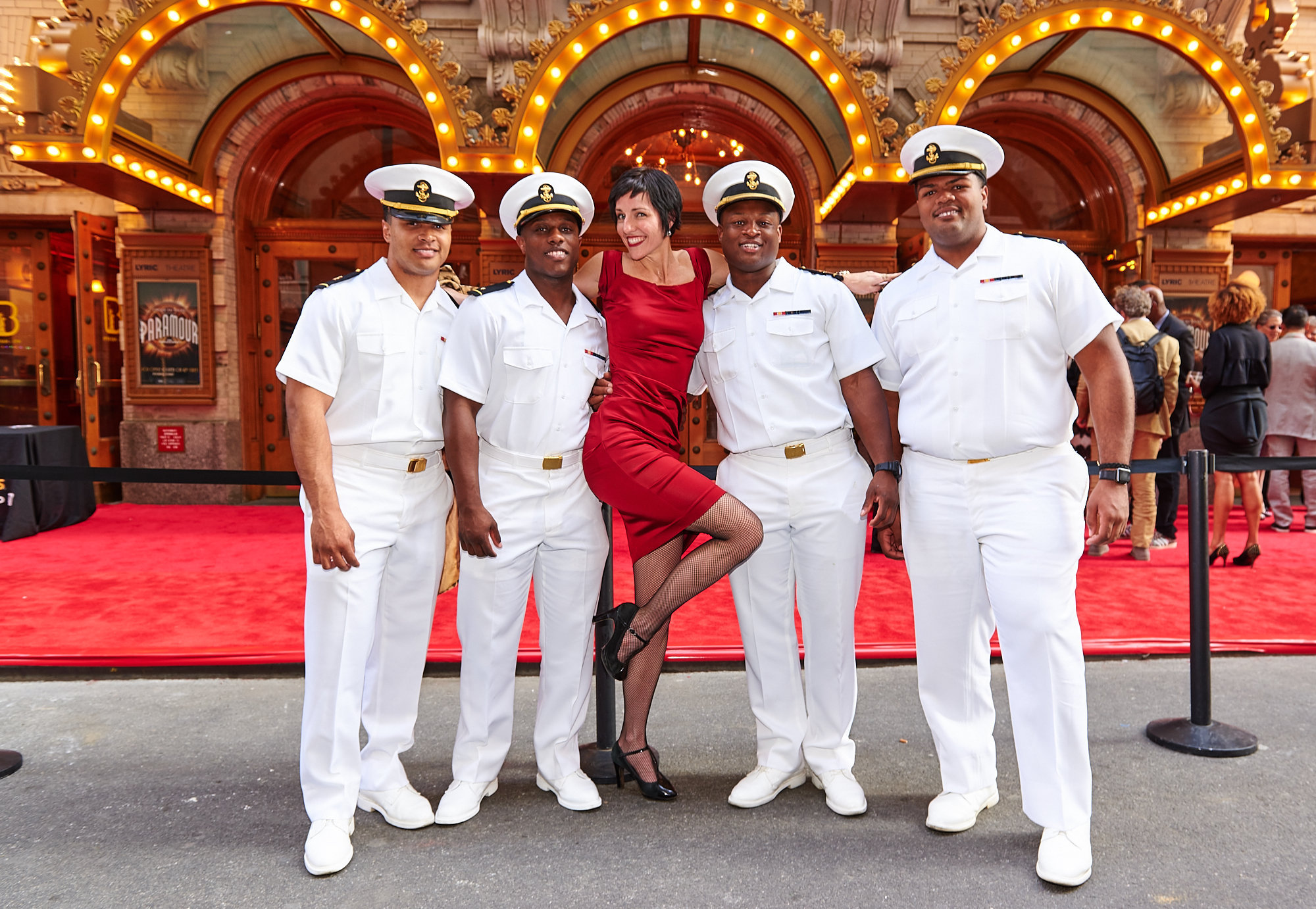 Amy Gordon entertains the troops outside the opening night of Paramour