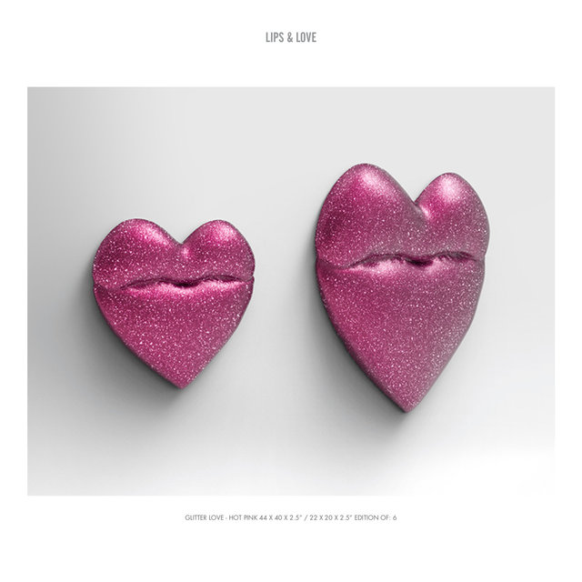 "LIPS & LOVE GLITTER LOVE - HOT PINK 3 44 X 40 X 2.5"" : 22 X 20 X 2.5"" EDITION OF- 6.jpg"