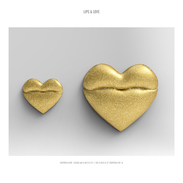 "LIPS & LOVE GLITTER LOVE - GOLD 44 X 40 X 2.5"" : 22 X 20 X 2.5"" EDITION OF- 6.jpg"
