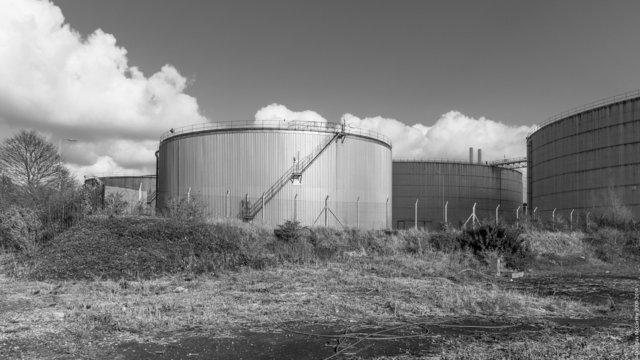 Oil storage tanks, Littlebrook Power Station, 2014
