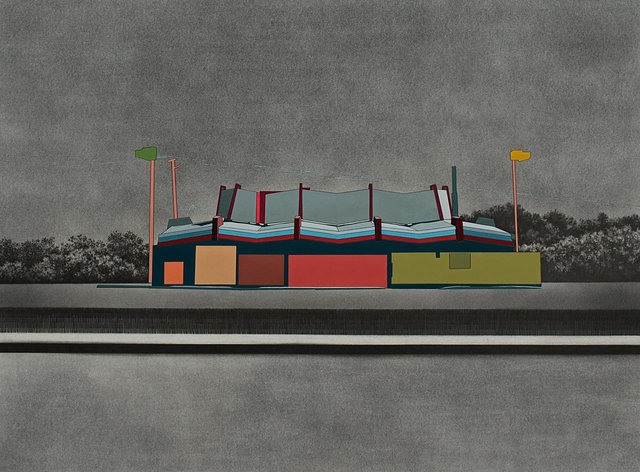 """The Golden Waffle, 2014, gouache and graphite on paper, 24 x 32"""""""