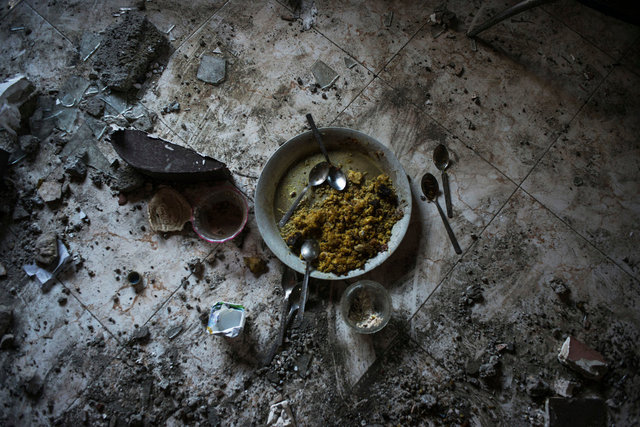 A plate of rice abandoned by Israeli airstrikes, Gaza City