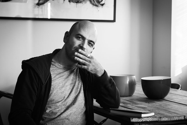 "Roberto Saviano, on the set of the Documentary ""Ferrante Fever"""