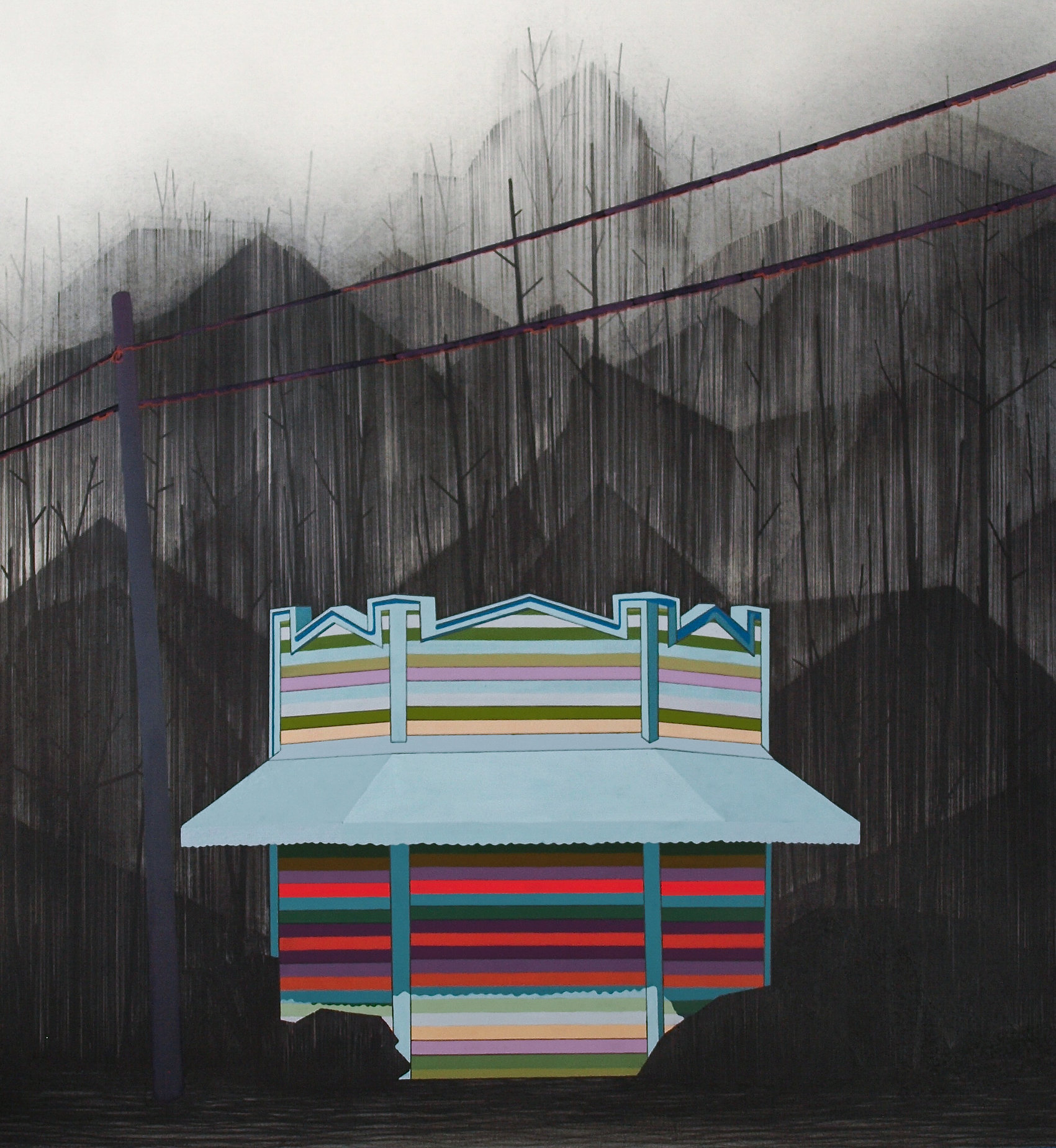 The Barbers, 2015, graphite and gouache on paper 30 x 22 ½ ""