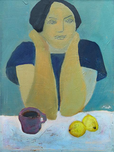 Girl with Coffee and Lemons