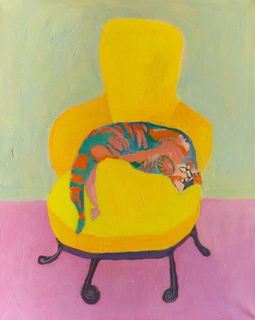 "Cat. Acrylic on Canvas. 20""x16"""