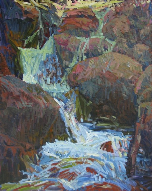 Small Fall  at Hell Roaring Creek, 2014, Acrylic on Canvas, 60 x 48 in.