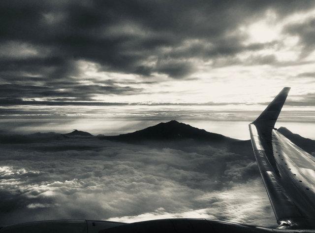 In flight over Bali