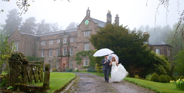 In the rain at Brownsholme Hall