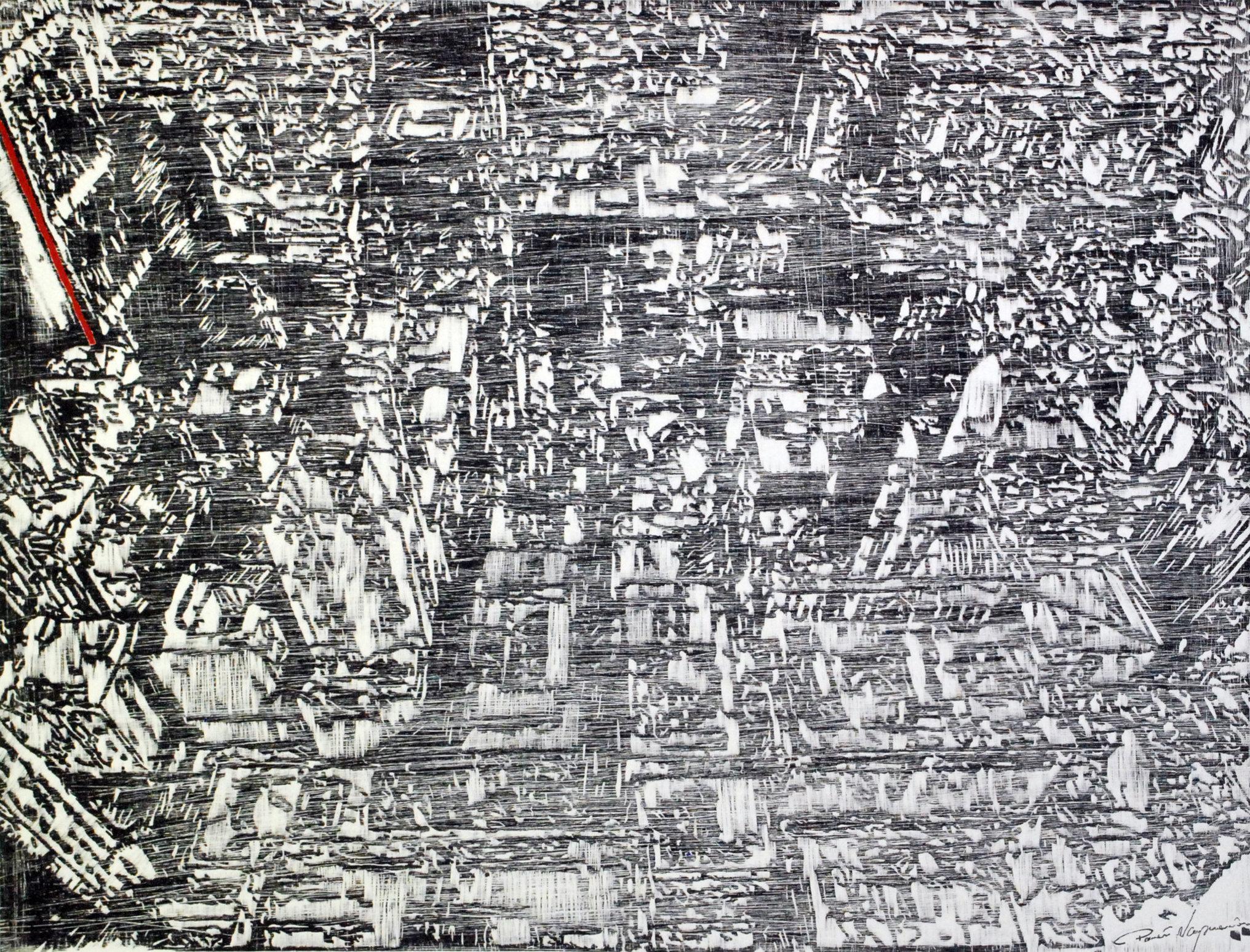 Rytm wokół mnie 4 60x80 linoryt 2014