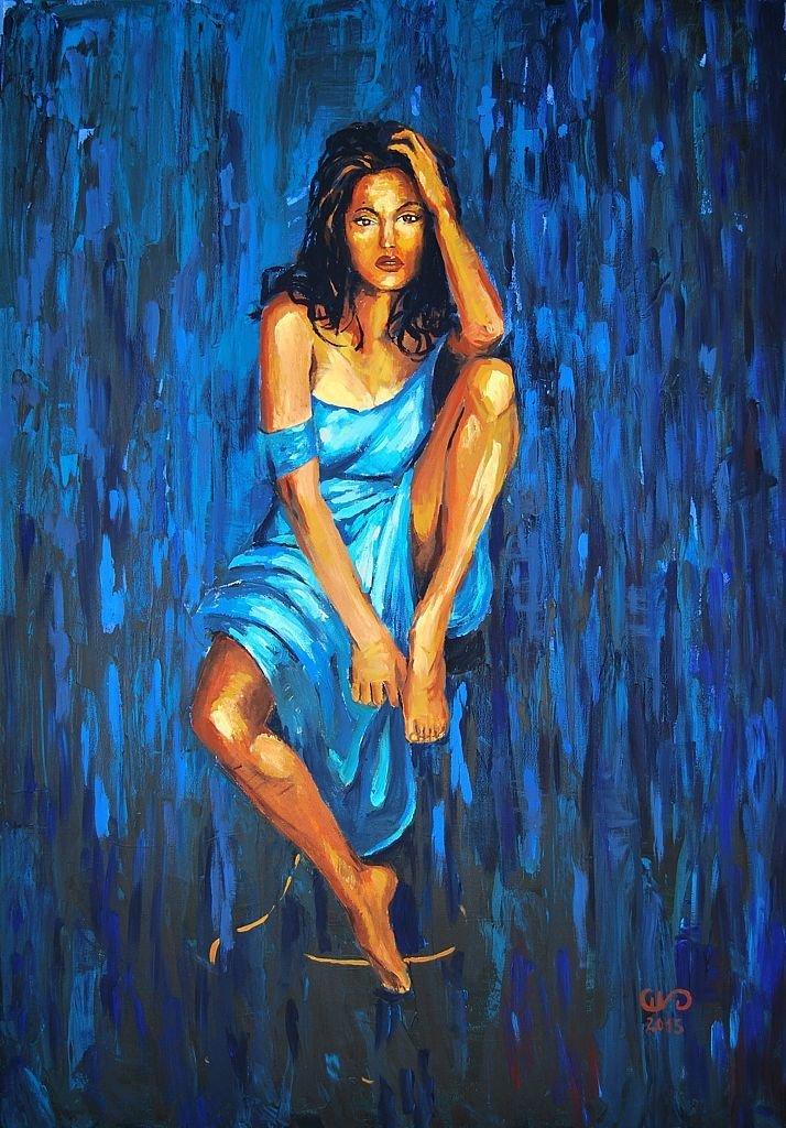 Blue Velvet z cyklu Beauties 100x70 akryl płotno 2015